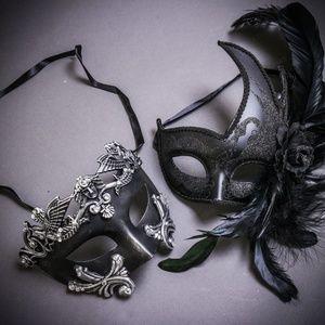 Black Silver Venetian Roman Warrior Couple Masks
